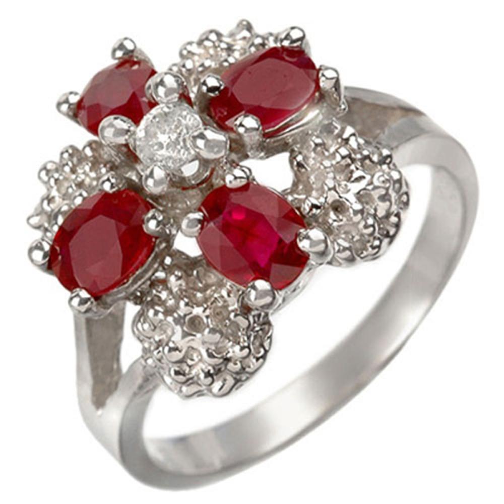 1.58 ctw Ruby & Diamond Ring 14K White Gold - REF-43Y3X - SKU:10844