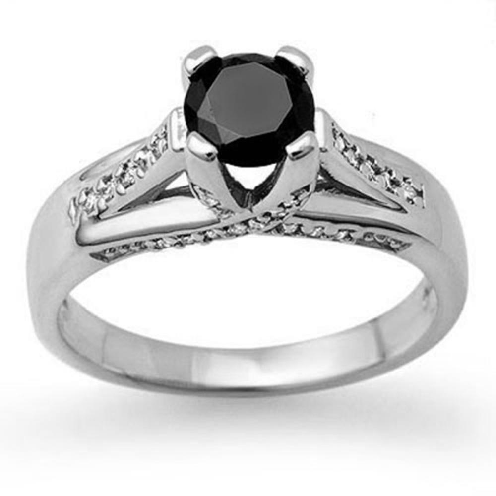 1.18 ctw VS Black & White Diamond Ring 14K White Gold - REF-64F2N - SKU:11881