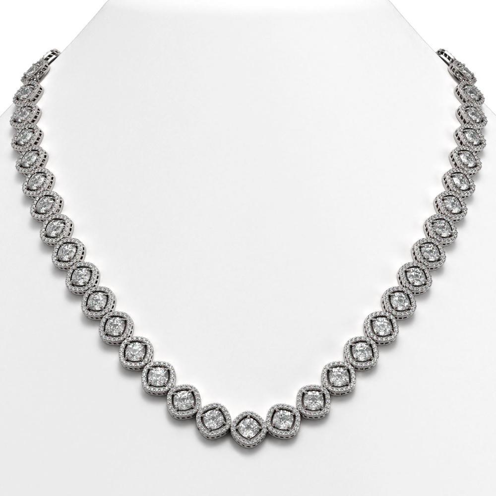 36.09 ctw Cushion Diamond Necklace 18K White Gold - REF-5015K9W - SKU:42857