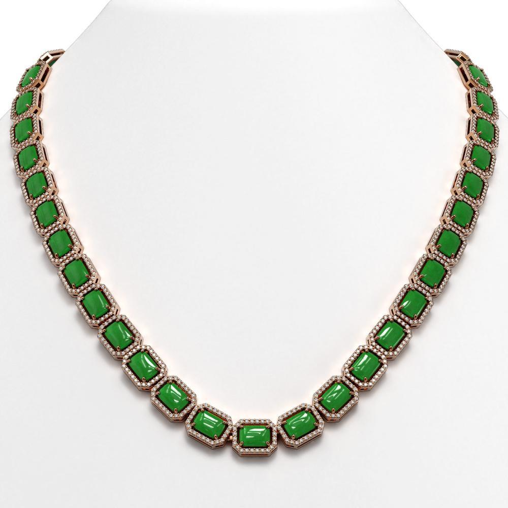 56.69 ctw Jade & Diamond Halo Necklace 10K Rose Gold - REF-673W8H - SKU:46061