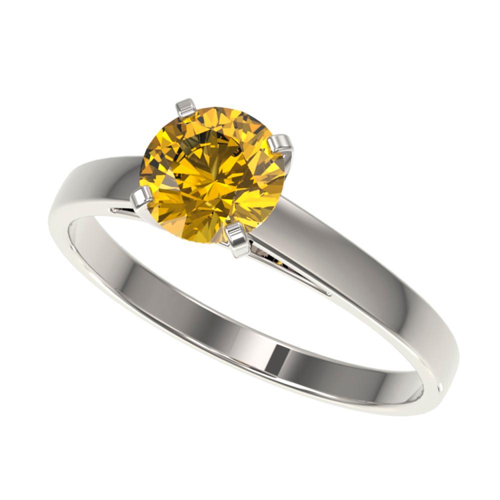 1 ctw Intense Yellow Diamond Ring 10K White Gold - REF-199V5Y - SKU:32989
