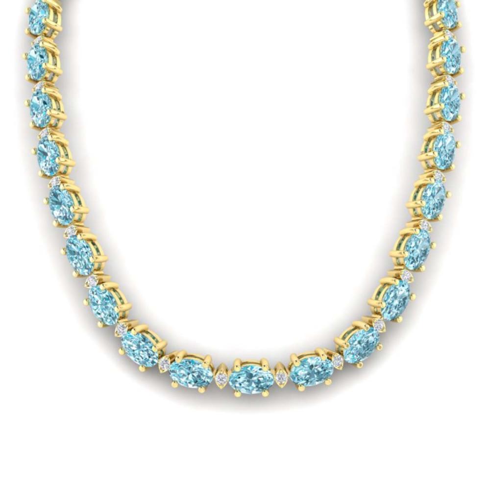 61.85 ctw Sky Blue Topaz & VS/SI Diamond Necklace 10K Yellow Gold - REF-264A9V - SKU:29524
