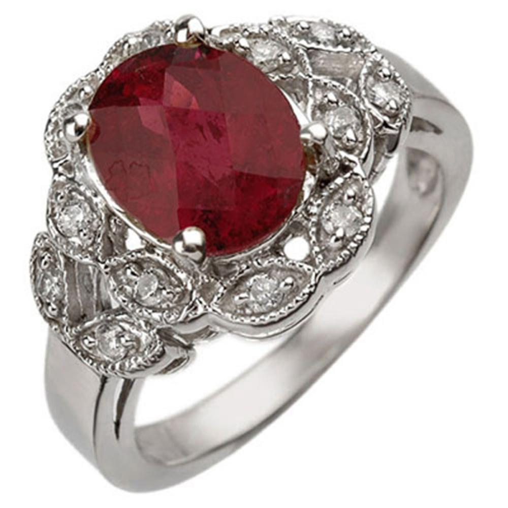 3.25 ctw Rubellite & Diamond Ring 10K White Gold - REF-70A5V - SKU:10887