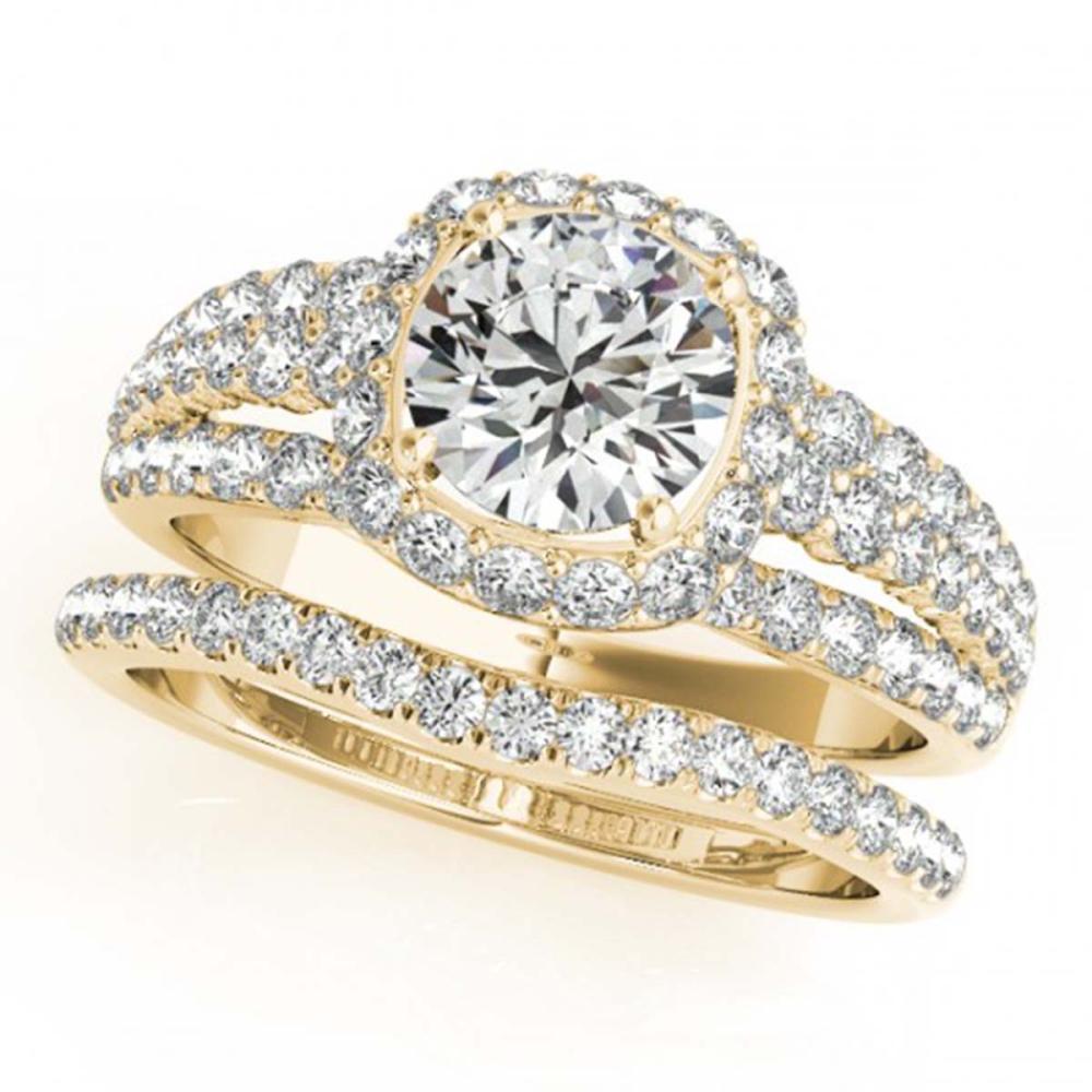 2.44 ctw VS/SI Diamond 2pc Wedding Set Halo 14K Yellow Gold - REF-413A9V - SKU:31147