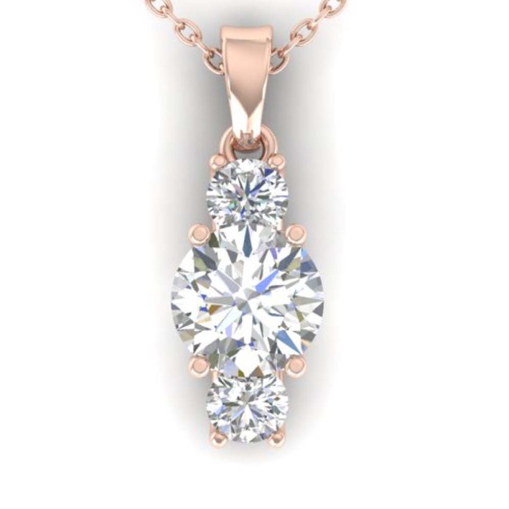 1.50 ctw VS/SI Diamond Art Deco Stud Necklace 14K Rose Gold - REF-373H9M - SKU:30310