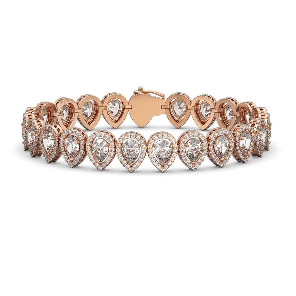 18.55 ctw Pear Diamond Bracelet 18K Rose Gold - REF-2549A2V - SKU:42825