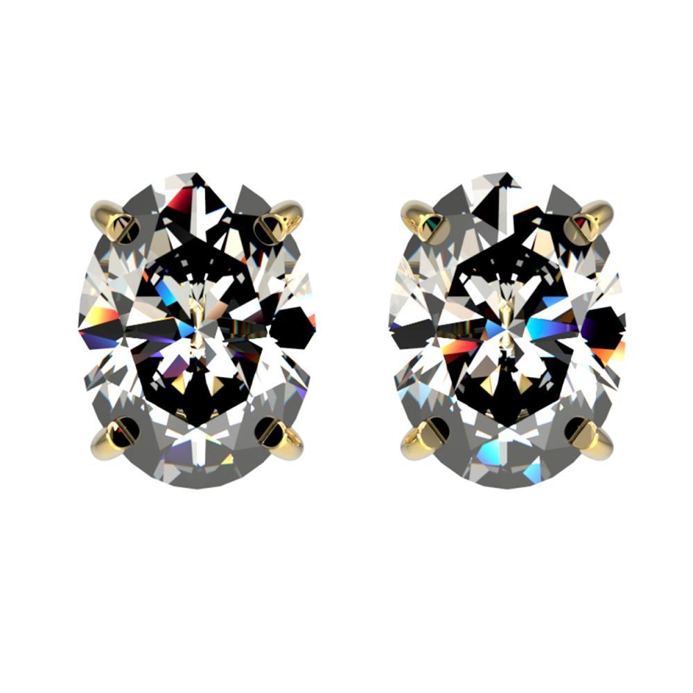 2.50 ctw VS/SI Oval Diamond Stud Earrings 10K Yellow Gold - REF-735Y2X - SKU:33113