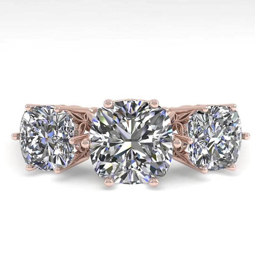 2.0 ctw Past Present Future VS/SI Cushion Diamond Ring 18K Rose Gold - REF-414H2M - SKU:35918