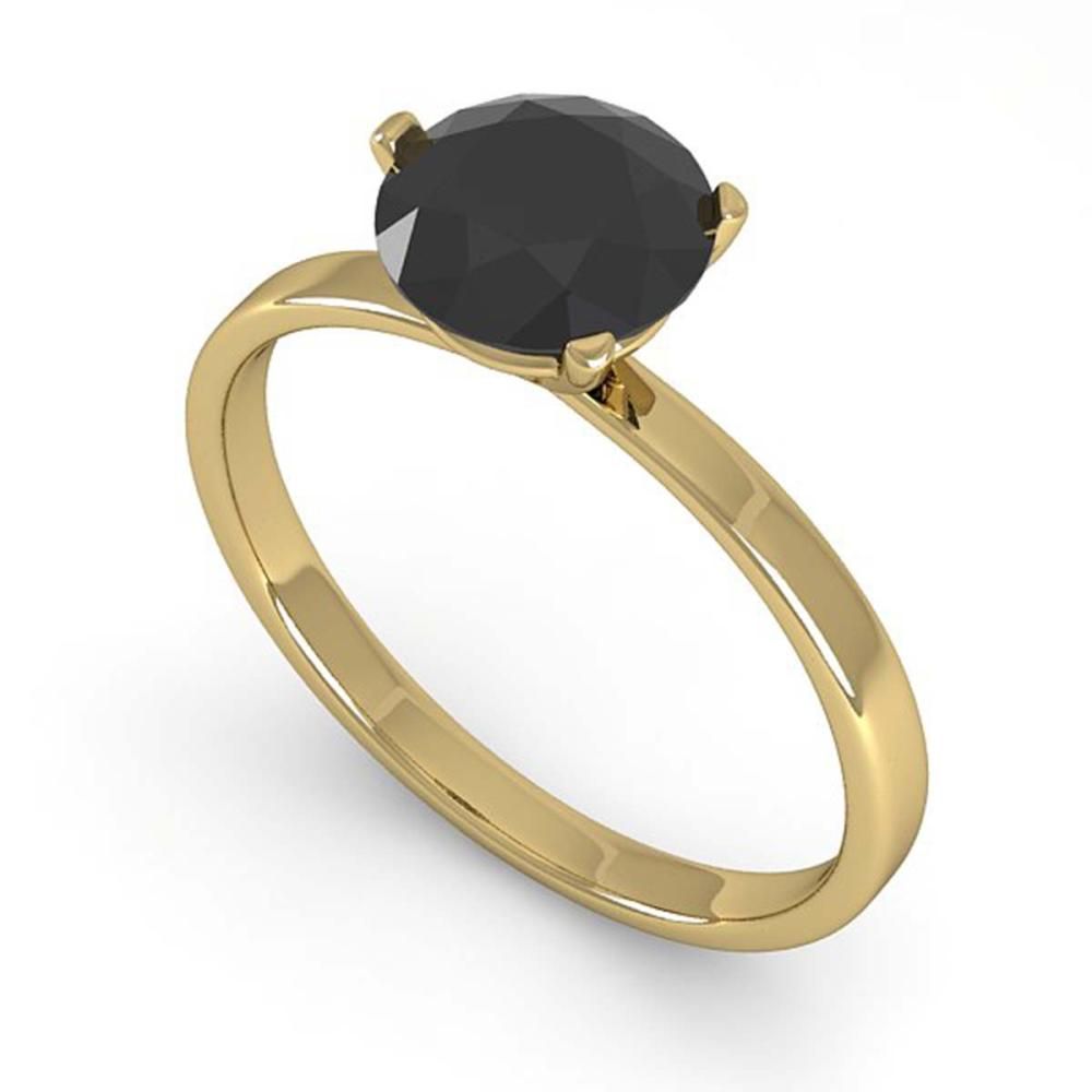 1.0 ctw Black Diamond Ring Martini 18K Yellow Gold - REF-41N4A - SKU:32233