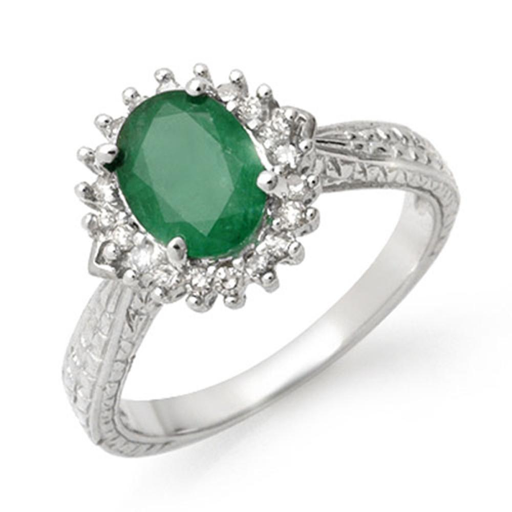 2.75 ctw Emerald & Diamond Ring 10K White Gold - REF-49V3Y - SKU:12775