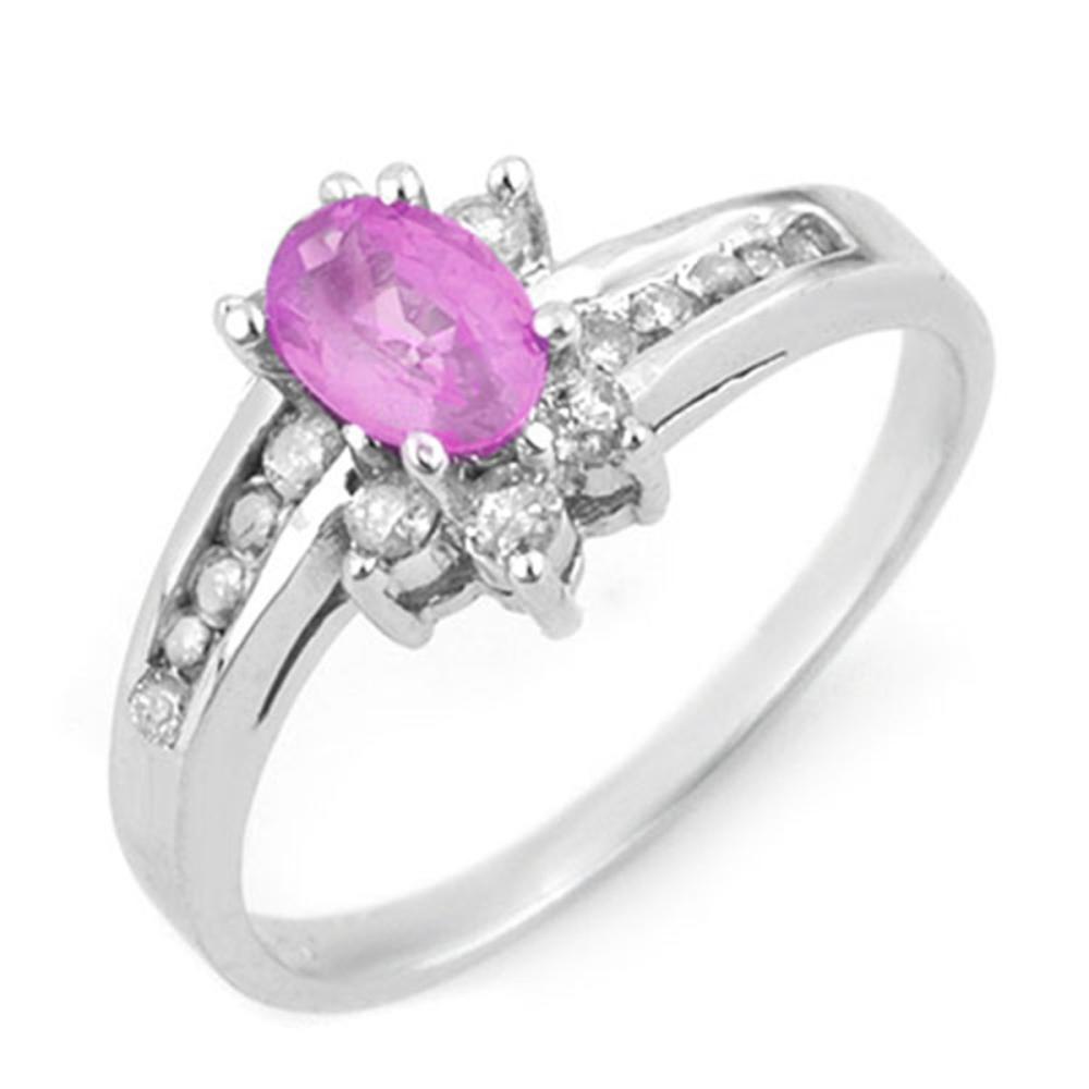 1.05 ctw Pink Sapphire & Diamond Ring 14K White Gold - REF-40R9K - SKU:14203