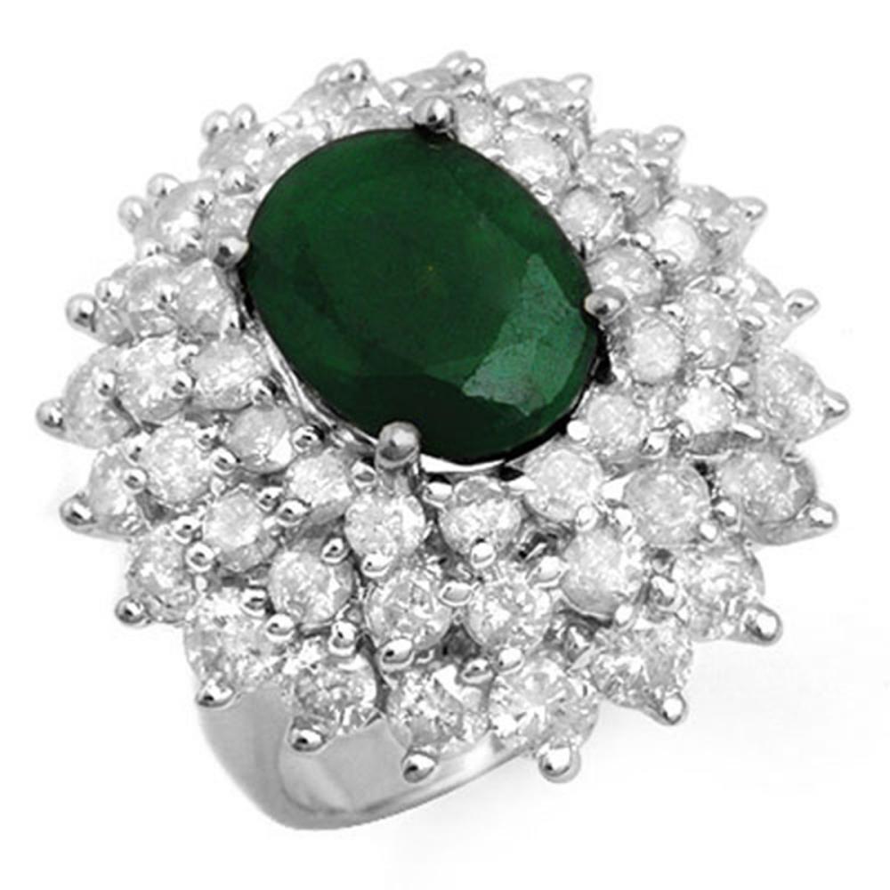 10.02 ctw Emerald & Diamond Ring 18K White Gold - REF-368W4H - SKU:13306
