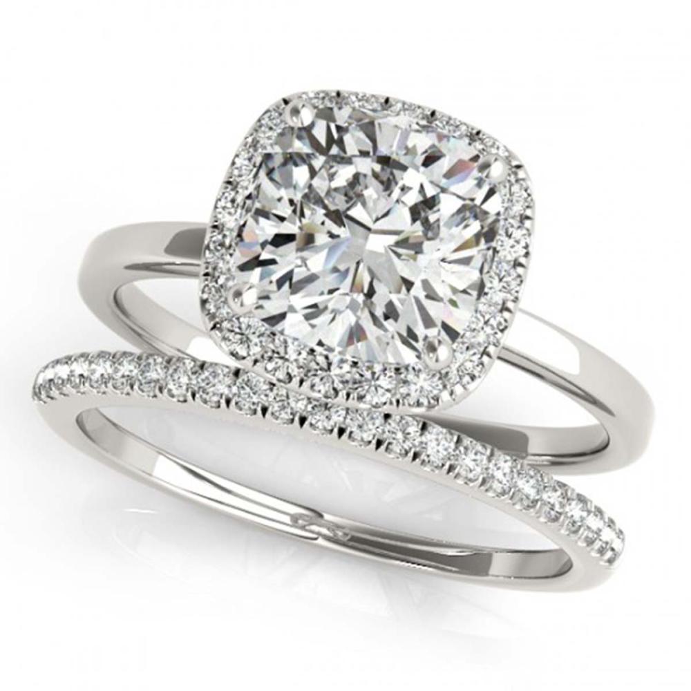 1.10 ctw VS/SI Cushion Diamond 2pc Set Halo 14K White Gold - REF-171X7R - SKU:31409