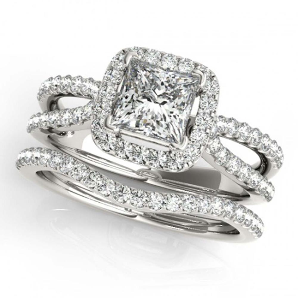 1.71 ctw VS/SI Princess Diamond 2pc Set Halo 14K White Gold - REF-334Y9X - SKU:31343