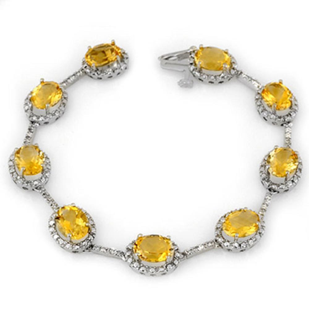 16.33 ctw Citrine & Diamond Bracelet 14K White Gold - REF-119W6H - SKU:10914