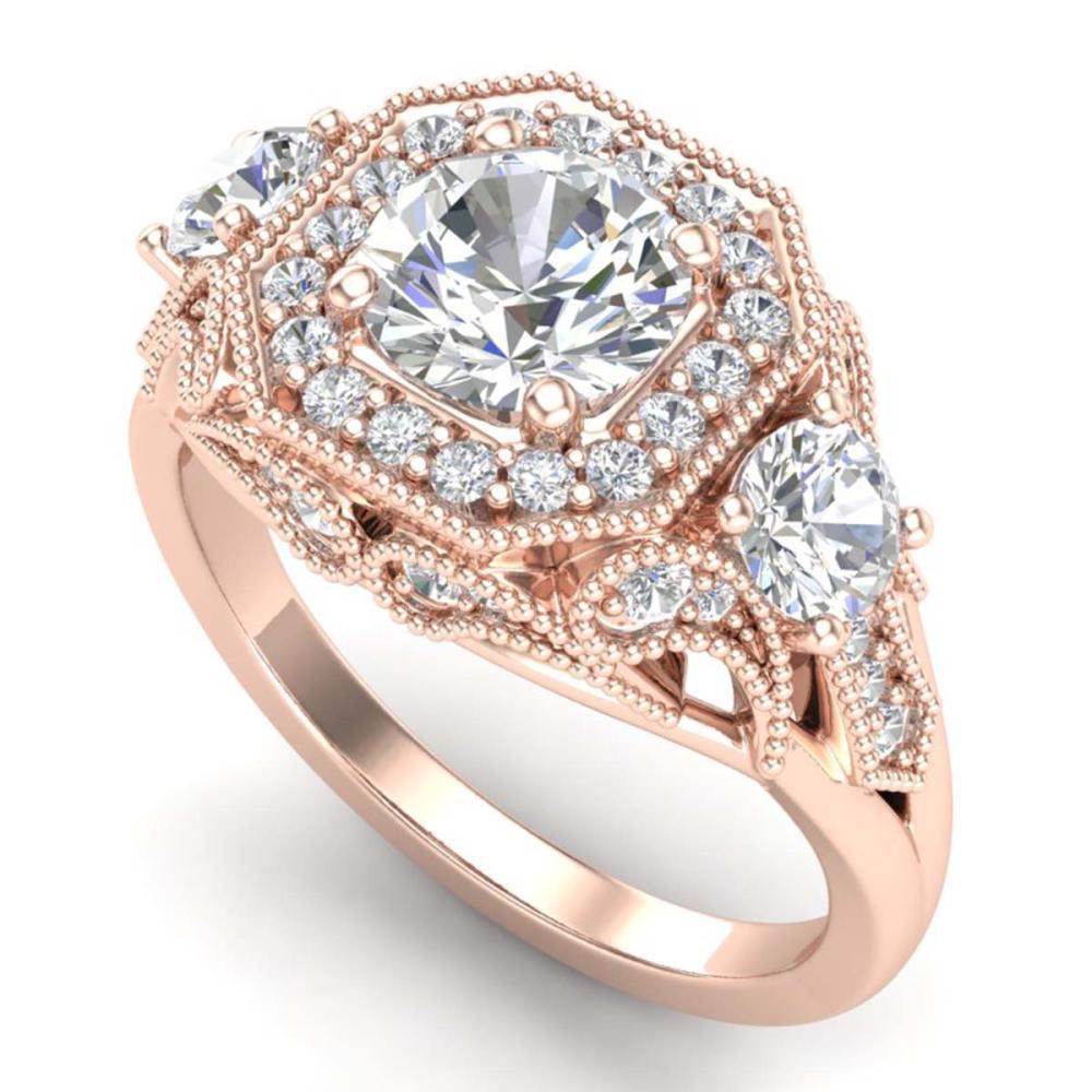 2.11 ctw VS/SI Diamond Solitaire Art Deco 3 Stone Ring 18K Rose Gold - REF-490V9Y - SKU:37329