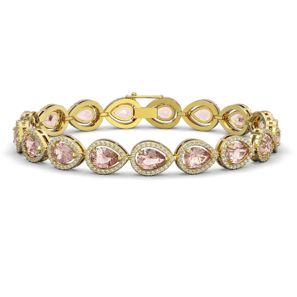 16.59 ctw Morganite & Diamond Halo Bracelet 10K Yellow Gold - REF-388N2A - SKU:41104