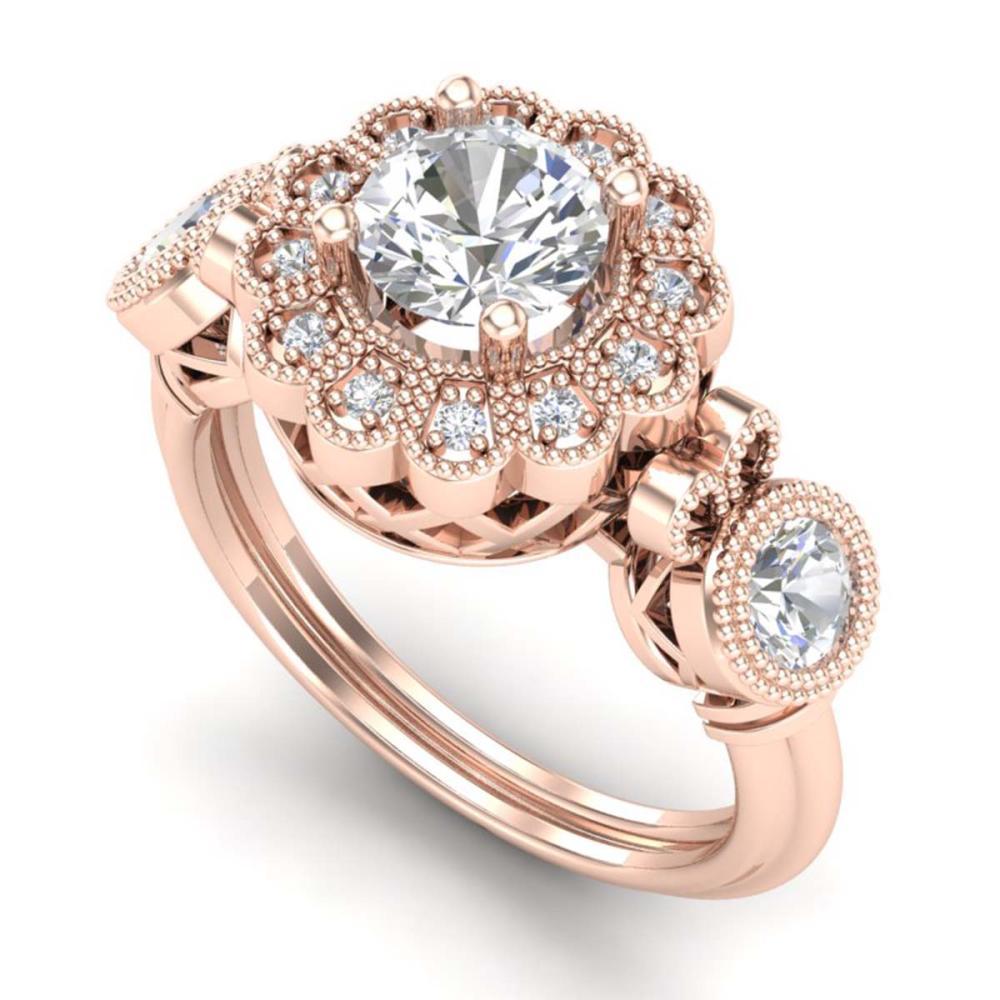 1.50 ctw VS/SI Diamond Solitaire Art Deco 3 Stone Ring 18K Rose Gold - REF-300N2A - SKU:37059
