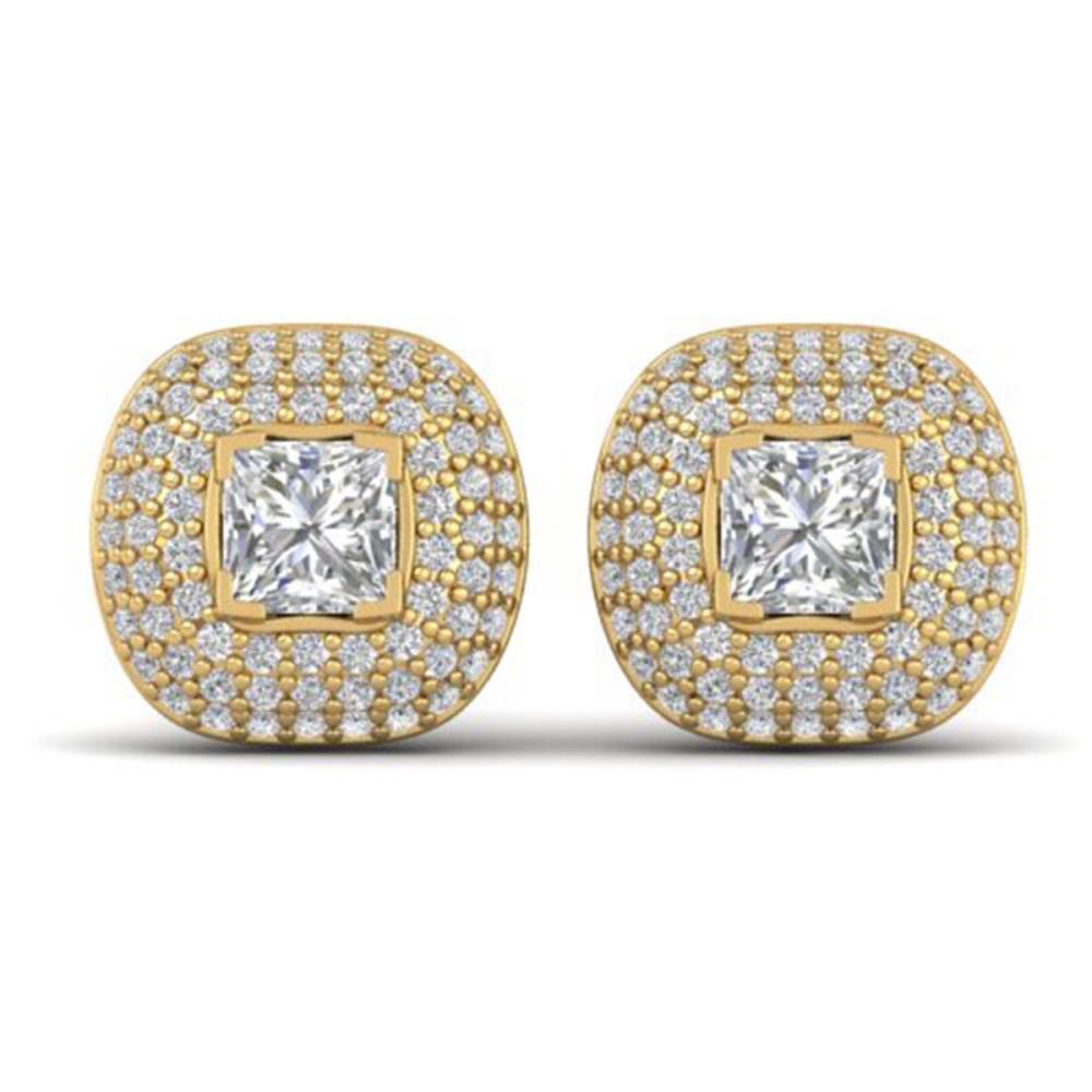 2 ctw Princess VS/SI Diamond Art Deco Earrings 14K Yellow Gold - REF-255F3N - SKU:30449