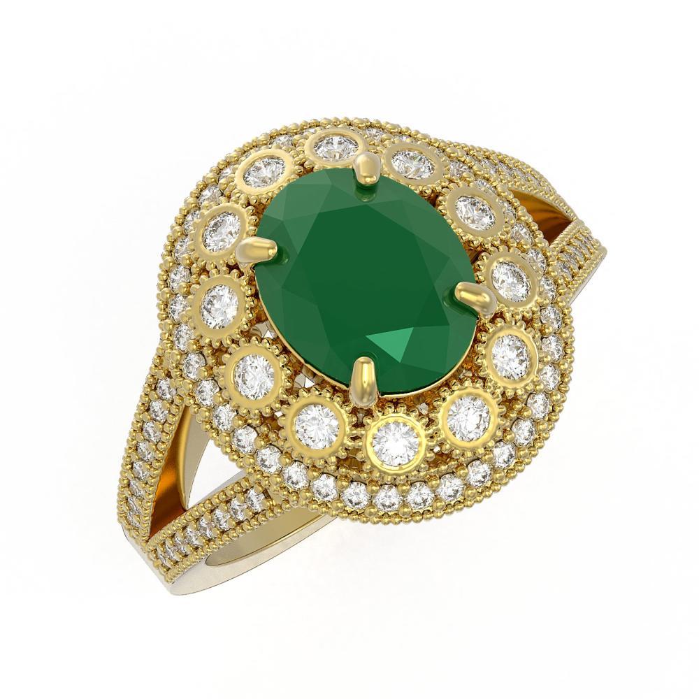 4.55 ctw Emerald & Diamond Ring 14K Yellow Gold - REF-148X2R - SKU:43576