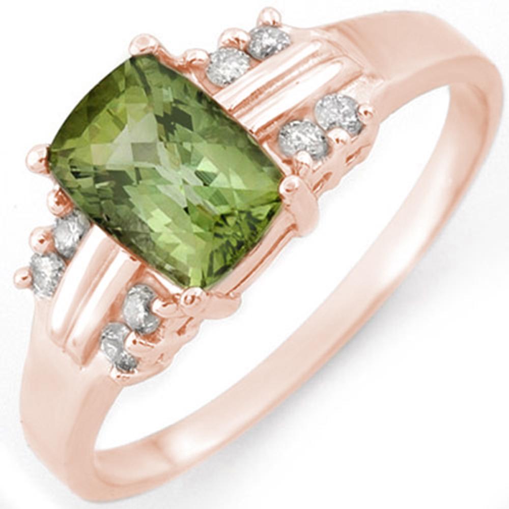 1.41 ctw Green Tourmaline & Diamond Ring 18K Rose Gold - REF-42V7Y - SKU:10519