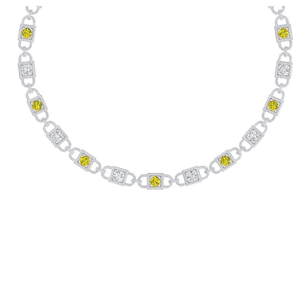 20 ctw SI/I Fancy And Diamond Necklace 18K White Gold - REF-2190K2W - SKU:40154