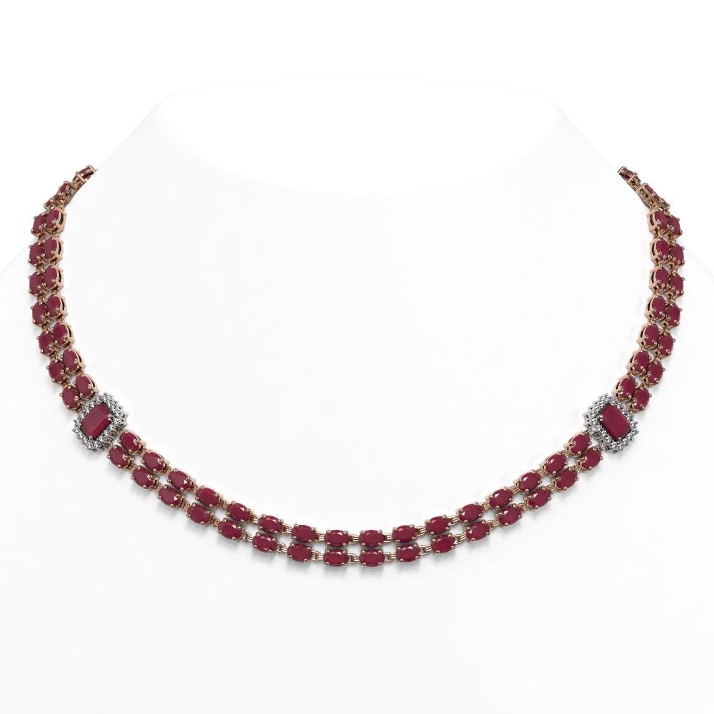 41.63 ctw Ruby & Diamond Necklace 14K Rose Gold - REF-460X7R - SKU:44970