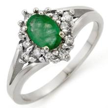 0.85 CTW Emerald & Diamond Ring 18K White Gold - REF-43K5W - 10273