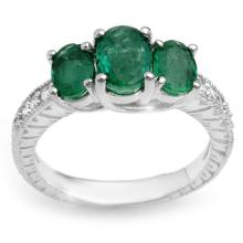 2.50 CTW Emerald & Diamond Ring 10K White Gold - REF-49A3X - 10770