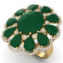 20.63 CTW Royalty Designer Emerald & VS Diamond Ring 18K Yellow Gold - REF-353M6H - 39140