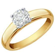 1.0 CTW Certified VS/SI Diamond Solitaire Ring 14K 2-Tone Gold - REF-436A9X - 12106