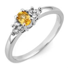 0.44 CTW Yellow Sapphire & Diamond Ring 18K White Gold - REF-33K3W - 11581