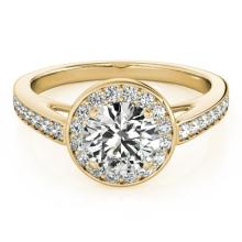 1.16 CTW Certified VS/SI Diamond Solitaire Halo Ring 18K Yellow Gold - REF-199K5W - 26565