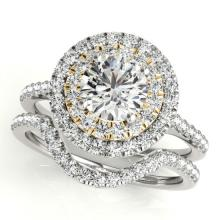 1.70 CTW Certified VS/SI Diamond 2Pc Set Solitaire Halo 14K White & Yellow Gold - REF-400K2W - 30689