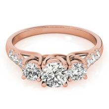 2 CTW Certified VS/SI Diamond 3 Stone Solitaire Ring 18K Rose Gold - REF-282X8T - 28087