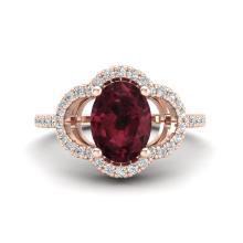 2 CTW Garnet & Micro Pave VS/SI Diamond Ring 10K Rose Gold - REF-33Y3K - 20983
