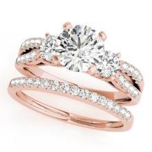 1.71 CTW Certified VS/SI Diamond 3 Stone 2Pc Set Wedding 14K Rose Gold - REF-398H9A - 32043