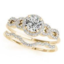 1.18 CTW Certified VS/SI Diamond Solitaire 2Pc Wedding Set 14K Yellow Gold - REF-197K8W - 31993