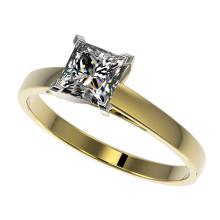 1 CTW Certified VS/SI Quality Princess Diamond Engagement Ring 10K Yellow Gold - REF-297M2H - 32996