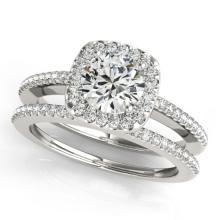 1.18 CTW Certified VS/SI Diamond 2Pc Wedding Set Solitaire Halo 14K White Gold - REF-209F3N - 30996