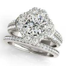 3.03 CTW Certified VS/SI Diamond 2Pc Wedding Set Solitaire Halo 14K White Gold - REF-623X3T - 31109