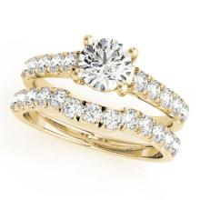 1.39 CTW Certified VS/SI Diamond 2Pc Set Solitaire Wedding 14K Yellow Gold - REF-215W5F - 32089