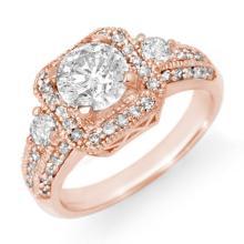 2.0 CTW Certified VS/SI Diamond Ring 14K Rose Gold - REF-531F3N - 14545