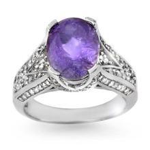 4.70 CTW Tanzanite & Diamond Ring 14K White Gold - REF-154K8W - 14270