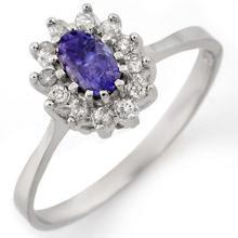 0.60 CTW Tanzanite & Diamond Ring 14K White Gold - REF-27K8W - 10768