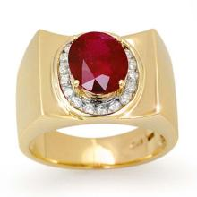 3.33 CTW Ruby & Diamond Men's Ring 10K Yellow Gold - REF-58A4X - 13487