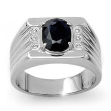 3.76 CTW Blue Sapphire & Diamond Men's Ring 10K White Gold - REF-73M8H - 13515