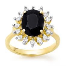 3.67 CTW Blue Sapphire & Diamond Ring 10K Yellow Gold - REF-54F5N - 12752