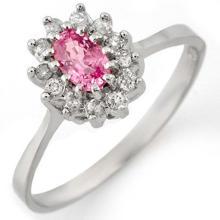 0.60 CTW Pink Sapphire & Diamond Ring 14K White Gold - REF-33Y6K - 11286