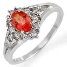 0.95 CTW Orange Sapphire & Diamond Ring 10K White Gold - REF-34M4H - 10657